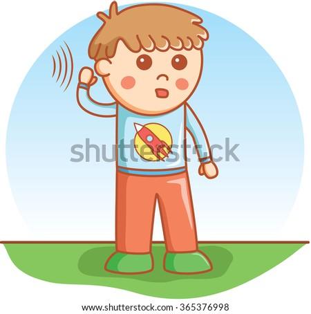 boy hearing doodle cartoon vector - stock vector