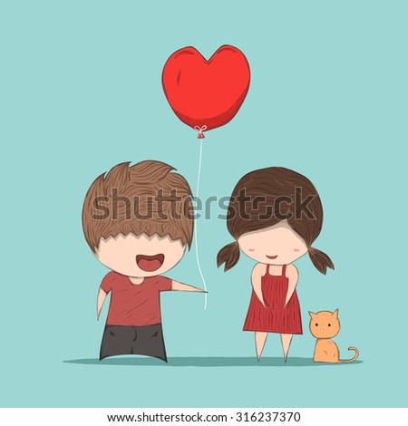 Boy heart-shaped balloons gives Girl and cat, cute Valentine's Day card, , drawing by hand vector - stock vector