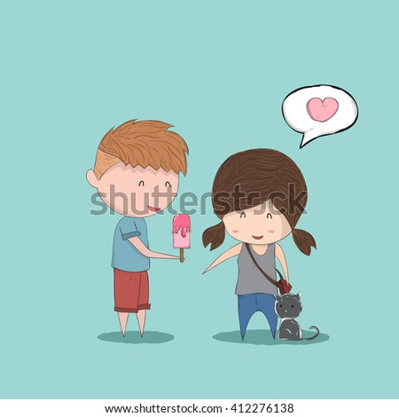 Boy heart-shaped Ice cream gives Girl and cat, cute Valentine's Day card, a drawing by hand vector - stock vector