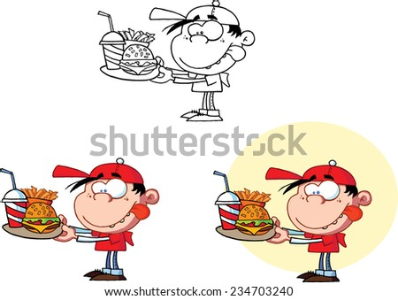 Boy Holding A Plate With Fast Food. Vector Collection Set - stock vector