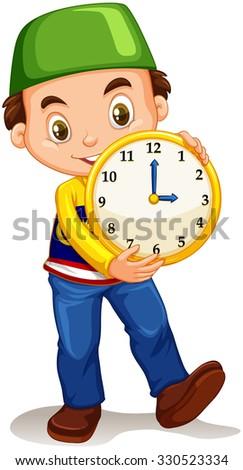 Boy holding a yellow clock illustration - stock vector