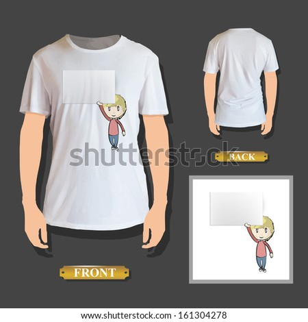 Boy holding an empty business card printed on shirt. Vector design. - stock vector