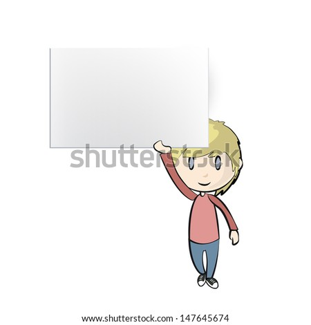 Boy holding an empty business card. Vector design  - stock vector