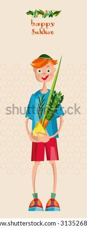 Boy holding ritual plants for Sukkot. Jewish holiday tradition. Vector illustration - stock vector