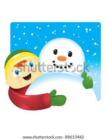 Boy Hugging Snowman - stock vector