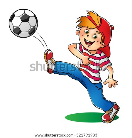 Boy in a red cap and striped t-shirt  with a soccer ball isolated on white background