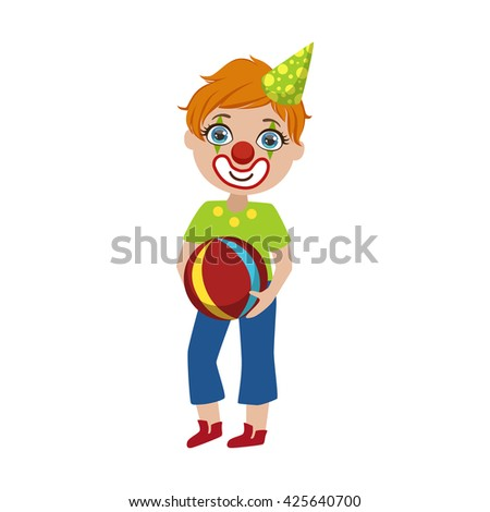 Boy In Clown Make Up Bright Color Cartoon Childish Style Flat Vector Drawing Isolated On White Background - stock vector