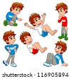 Boy in different poses and expressions.  Vector isolated characters. - stock photo