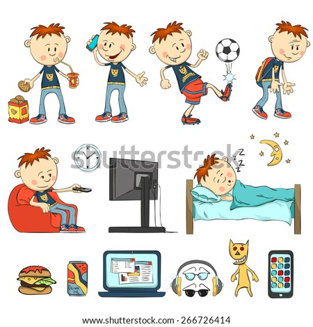 Boy in different situations. Schoolboy eats, drinking cocktail. Boy talking on phone, playing football, watching tv sitting in a chair. Boy sleeps. Fast Food, laptop, headphones, glasses, smart-phone. - stock vector