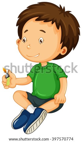 Boy in green shirt playing with light illustration - stock vector