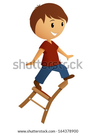 Boy in red shirt balance on the chair. Vector illustration. - stock vector
