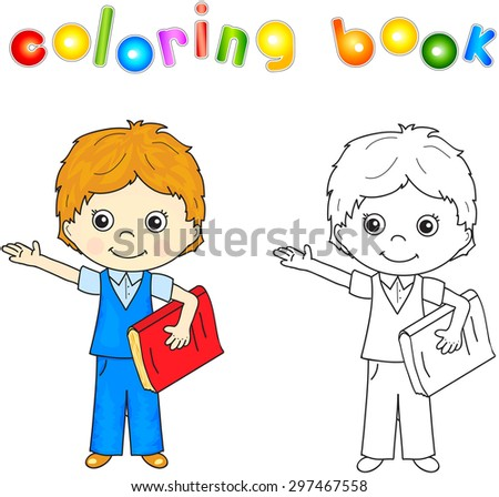 Boy in school uniform with red book. Coloring book for kids. Vector illustration - stock vector