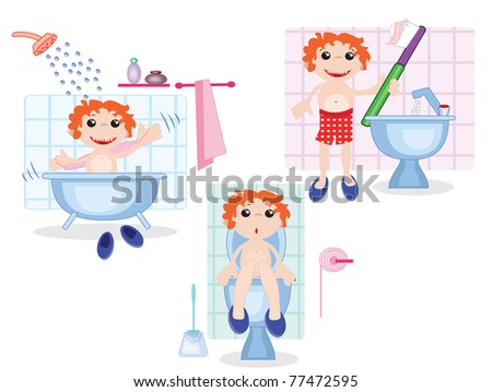 Boy in the bathroom,set,vector - stock vector