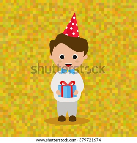 Boy in the party hat and with gift congratulates happy birthday - stock vector