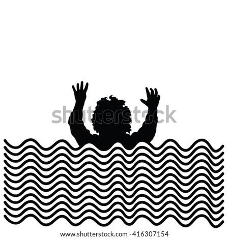 boy in water silhouette illustration in black - stock vector