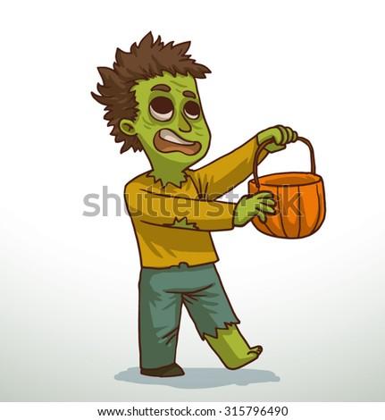 Boy in Zombie costume for Halloween, vector - stock vector