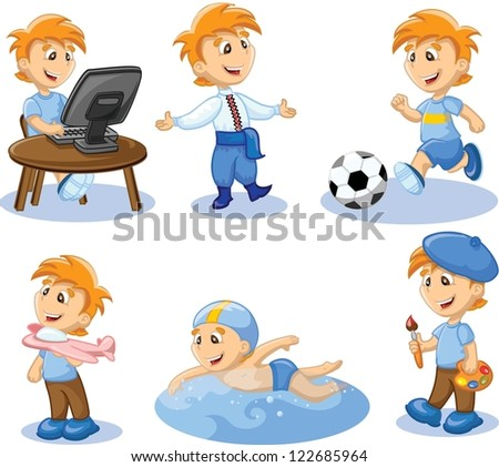 Boy is engaged in hobbies - stock vector