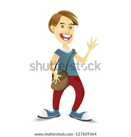 Boy is waving his hands - stock vector