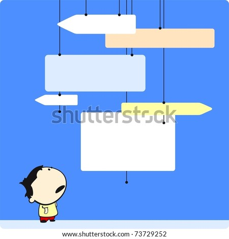 Boy looking at direction signs - stock vector
