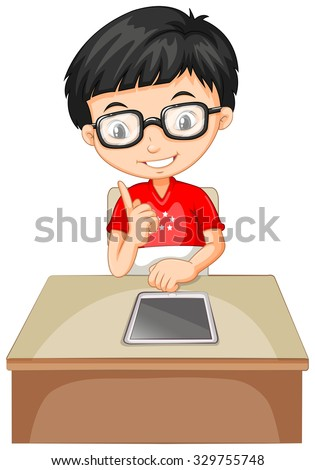 Boy looking at tablet on the table illustration - stock vector