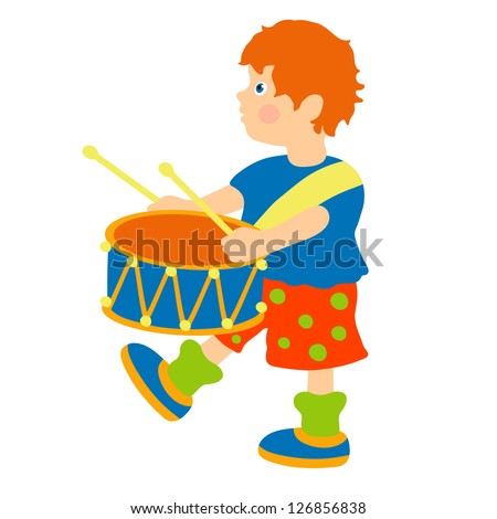 Boy marching with a drum - isolated vector illustration - stock vector