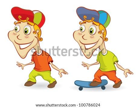 Boy mascot with skateboard - stock vector
