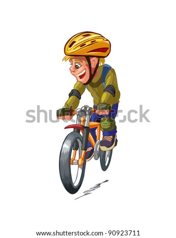 boy on a bicycle vector on a white background