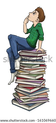 boy on a stack of books, vector illustration