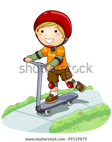Boy on Scooter in the Park - Vector