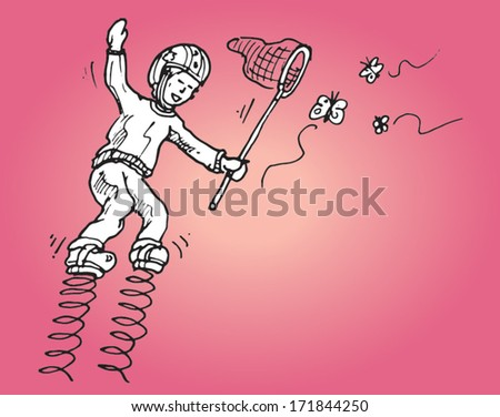 Boy on spring shoes catching butterflies with a net - humorous hand drawn vector - stock vector