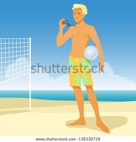boy on the beach play in volleyball - stock vector