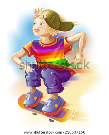 boy on the skateboard in a multicolored t-shirt. Vector illustration. - stock vector