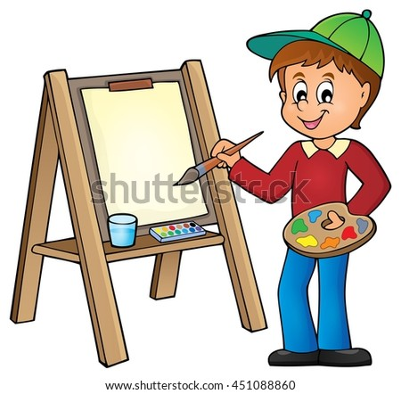Boy painting on canvas 1 - eps10 vector illustration. - stock vector
