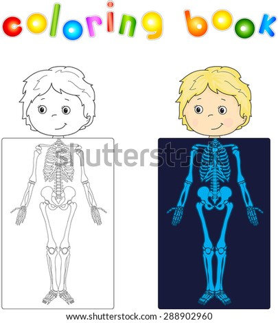 Boy, patient whose body is shown in the X-ray. Vector illustration. coloring book - stock vector
