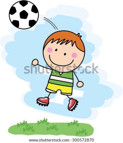 boy playing football - stock vector
