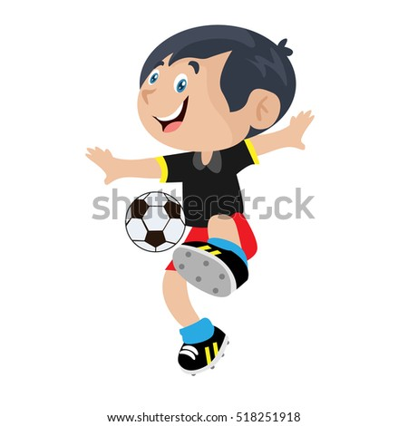Boy Playing Football Illustration Vector