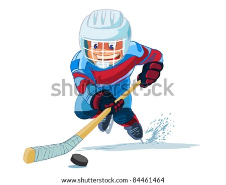 Boy playing in ice hockey on white background - stock vector