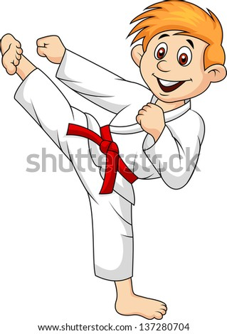 Boy playing karate - stock vector