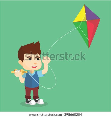 Boy playing kite