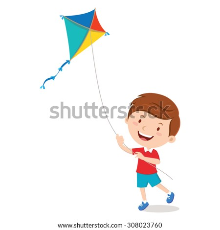 Boy playing kite. Vector illustration of a cheerful boy flying kite. - stock vector