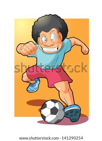 boy playing soccer - stock vector