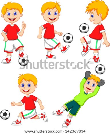 Boy playing soccer collection set - stock vector
