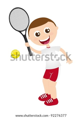 boy playing tennis with racket  isolated vector illustration