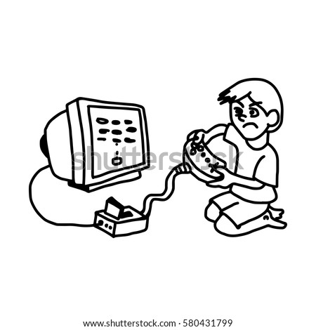 Boy Playing Video Game On Television Vector de ...