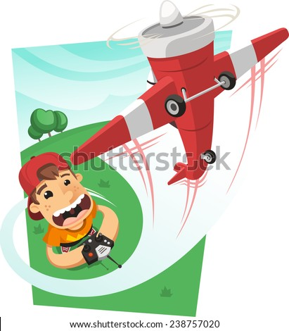 Boy playing with a remote control airplane in the park, vector illustration cartoon.