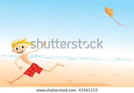 boy playing with kite on beach - stock vector