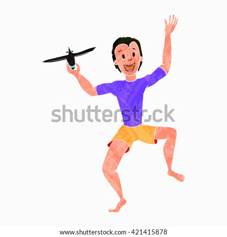 Boy Playing With Toy Aircraft or Plane, colorized texture - stock vector