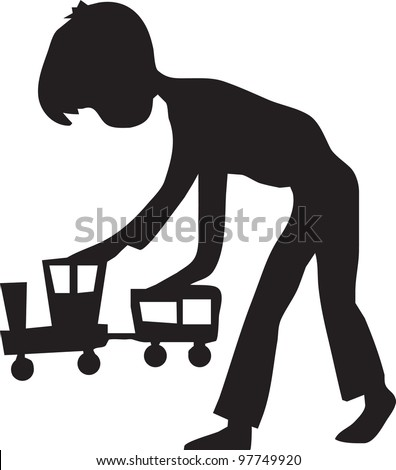 boy plays with a wooden train - stock vector