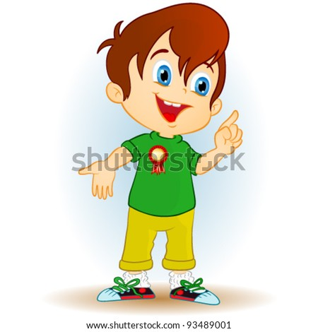 boy pointing - stock vector