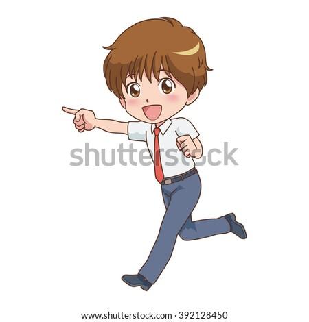 boy pose - stock vector